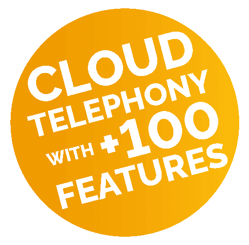 Cloud telephony with +100 features stamp