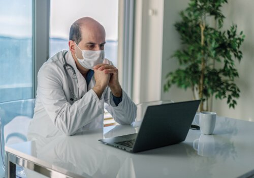 healthcare video conferencing Doctor meeting patient over video call