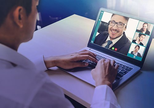 Person on a video conference call