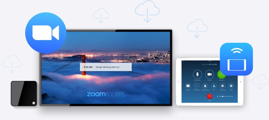 Zoom video meeting room integration conference
