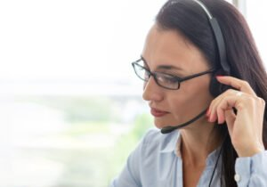 Woman on call in contact centre